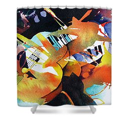 Shower Curtain featuring the painting Jazz Session by Rae Andrews