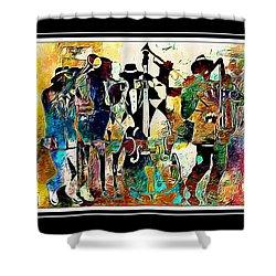 Jazzy Band Shower Curtain by Lynda Payton