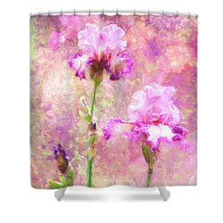 Jazzy Irises Shower Curtain by Diane Schuster