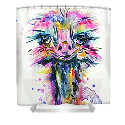 Shower Curtain featuring the painting Jazzzy Ostrich by Zaira Dzhaubaeva