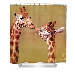 Je T'aime Giraffes Shower Curtain by Terri Waters
