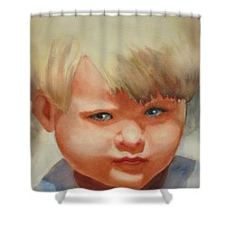 Jean Shower Curtain by Marilyn Jacobson