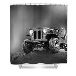 Shower Curtain featuring the photograph Jeep Bw by Charuhas Images