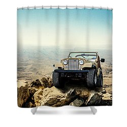 Jeep On A Mountain Shower Curtain