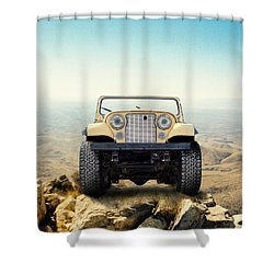 Jeep On Mountain Shower Curtain