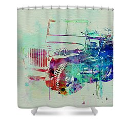 Jeep Willis Shower Curtain by Naxart Studio