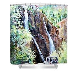 Jeeping At Bridal Falls  Shower Curtain by Linda Shackelford