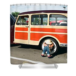 Jeepster Shower Curtain by Vinnie Oakes