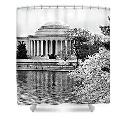 Jefferson Memorial Cherry Blosum Time Shower Curtain