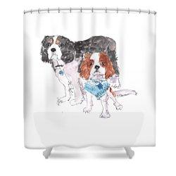 Jeffs Dogs Watercolor Kmcelwaine  Shower Curtain