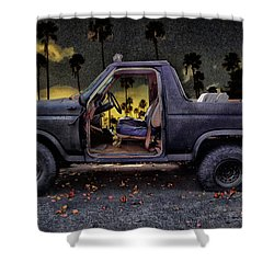 Jeff's Jeep And The Fallen Leaves Shower Curtain by Bob Winberry