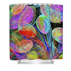 Shower Curtain featuring the digital art Jelly Beans And Balloons Abstract by Andee Design