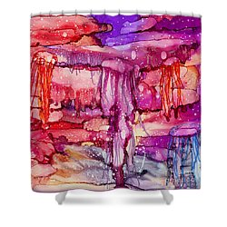 Jellyfish Shower Curtain by Alene Sirott-Cope