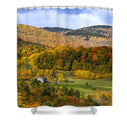 Shower Curtain featuring the photograph Jenne Farms Neighbor Reading Vt by Betty Denise