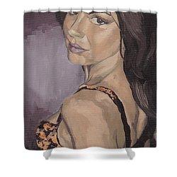 Jenny In Black Shower Curtain