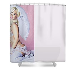 Shower Curtain featuring the pastel Jenny by Joseph Ogle