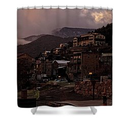 Shower Curtain featuring the photograph Jerome On The Edge Of Sunrise by Ron Chilston