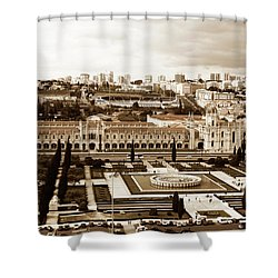 Jeronimos Monastery In Sepia Shower Curtain by Lorraine Devon Wilke