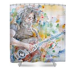 Jerry Garcia - Watercolor Portrait.15 Shower Curtain