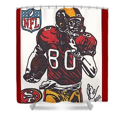 Shower Curtain featuring the drawing Jerry Rice by Jeremiah Colley