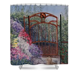 Shower Curtain featuring the painting Jerrys Garden by Stanza Widen