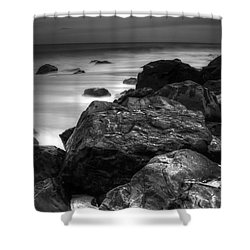 Jersey Shore At Night Shower Curtain by Paul Ward