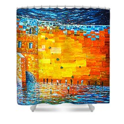 Shower Curtain featuring the painting Jerusalem Wailing Wall Original Acrylic Palette Knife Painting by Georgeta Blanaru
