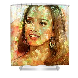 Jessica Alba Shower Curtain by Elena Kosvincheva