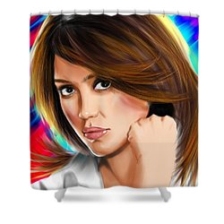 Jessica Alba Shower Curtain by Isaac Martinez