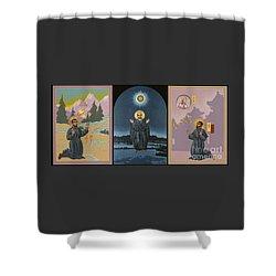 Jesuit Triptych-st Peter Faber-st Ignatius-st Francis Xavier Shower Curtain