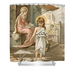Jesus As A Boy Playing With Doves Shower Curtain by John Lawson