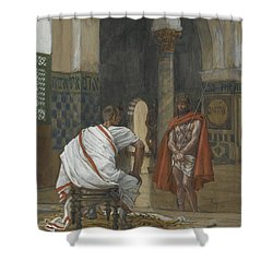 Jesus Before Pilate Shower Curtain by Tissot