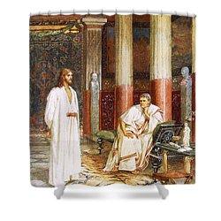 Jesus Being Interviewed Privately Shower Curtain by William Brassey Hole