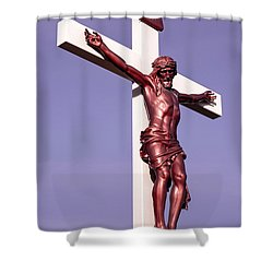 Jesus Crucifix Against The Sky 2 Shower Curtain by Gary Whitton