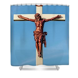 Jesus Crucifix Against The Sky 3 Shower Curtain by Gary Whitton