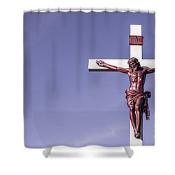 Jesus Crucifix Against The Sky Shower Curtain by Gary Whitton