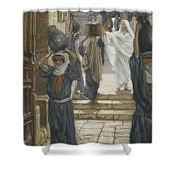 Jesus Forbids The Carrying Of Loads In The Forecourt Of The Temple Shower Curtain by Tissot