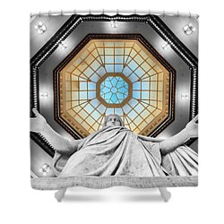 Jesus Halo Shower Curtain by Mark Dodd