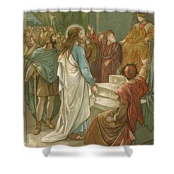Jesus In Front Of Pilate Shower Curtain by John Lawson