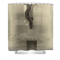 Jesus On The Cross Chapel Icon Shower Curtain by Daniel Hagerman