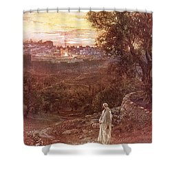 Jesus On The Mount Of Olives Shower Curtain by William Brassey Hole