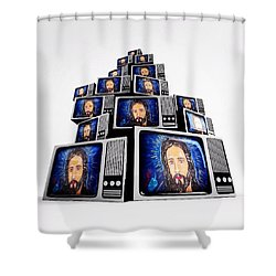 Jesus On Tv Shower Curtain