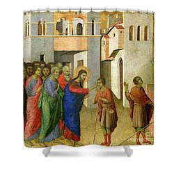 Jesus Opens The Eyes Of A Man Born Blind Shower Curtain by Duccio di Buoninsegna