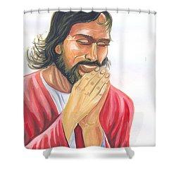 Jesus Praying Shower Curtain by Emmanuel Baliyanga