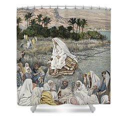 Jesus Preaching By The Seashore Shower Curtain by Tissot