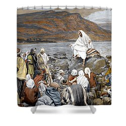 Jesus Preaching Shower Curtain by Tissot
