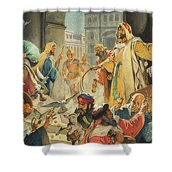 Jesus Removing The Money Lenders From The Temple Shower Curtain by James Edwin McConnell