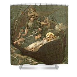 Jesus Sleeping During The Storm Shower Curtain by John Lawson
