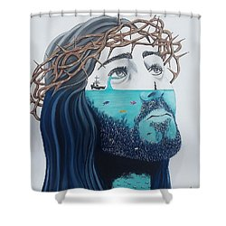 Jesus Walks On The Water Shower Curtain