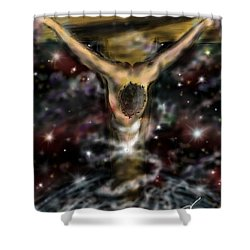 Shower Curtain featuring the digital art Jesus World by Darren Cannell